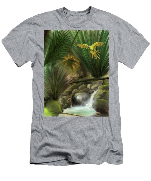 Men's T-Shirt (Athletic Fit) featuring the digital art Jungle Parrot by Darren Cannell
