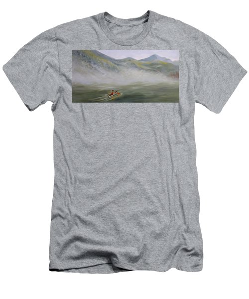 Kayaking Through The Fog Men's T-Shirt (Slim Fit) by Joanne Smoley