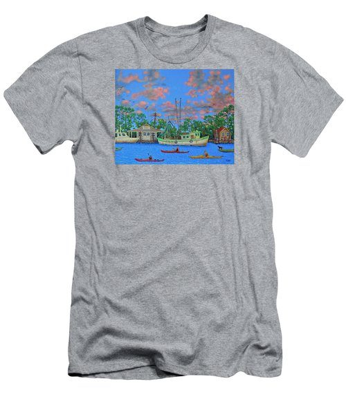 kayaks on the Creek Men's T-Shirt (Slim Fit) by Dwain Ray