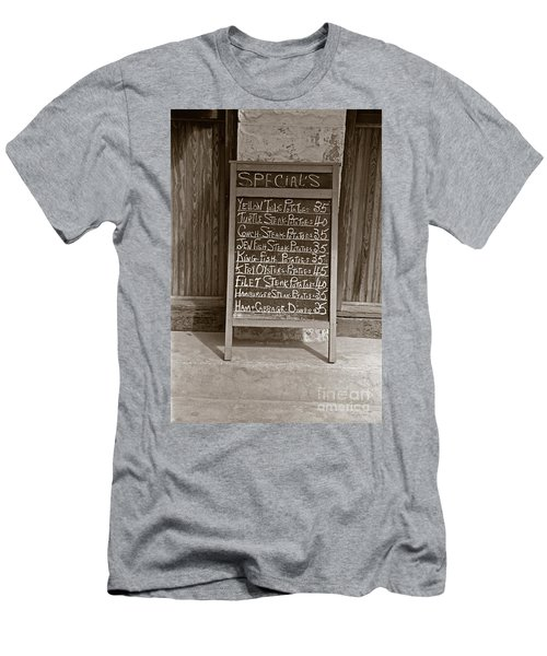 Men's T-Shirt (Slim Fit) featuring the photograph Key West Depression Era Restaurant Specials by John Stephens