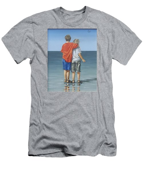 Men's T-Shirt (Slim Fit) featuring the painting Kids by Natalia Tejera