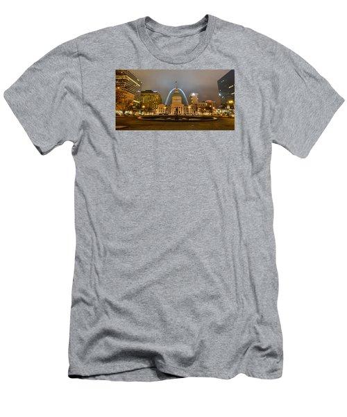 Kiener Plaza And The Gateway Arch Men's T-Shirt (Slim Fit) by Matthew Chapman