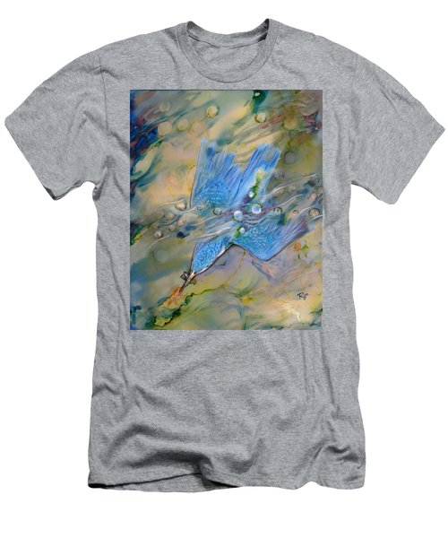 Men's T-Shirt (Athletic Fit) featuring the painting Kingfisher Dive by Ryn Shell