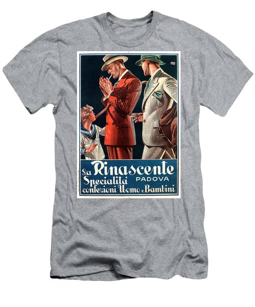 La Rinascente - Clothing For Men - Italian Fashion - Padova, Italy - Vintage Advertising Poster Men's T-Shirt (Athletic Fit)