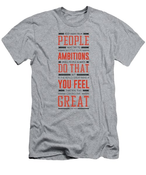 Lab No. 4 Keep Away From People Mark Twain Inspirational Quote Men's T-Shirt (Athletic Fit)
