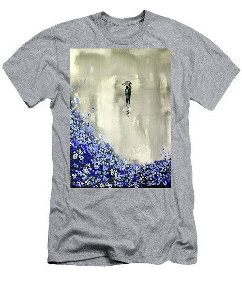 Men's T-Shirt (Slim Fit) featuring the painting Lady In Blue by Raymond Doward