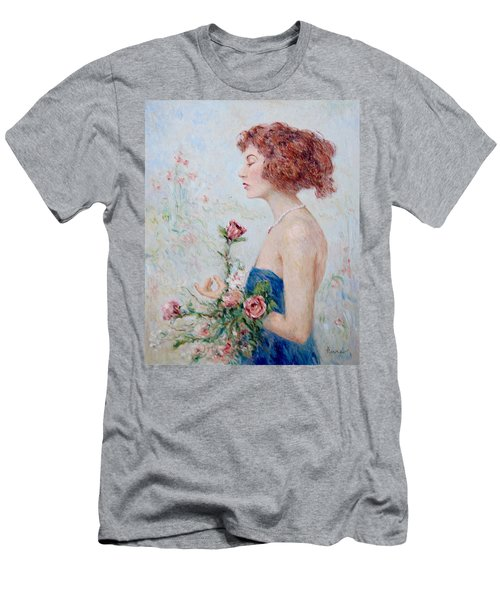 Lady With Roses  Men's T-Shirt (Athletic Fit)