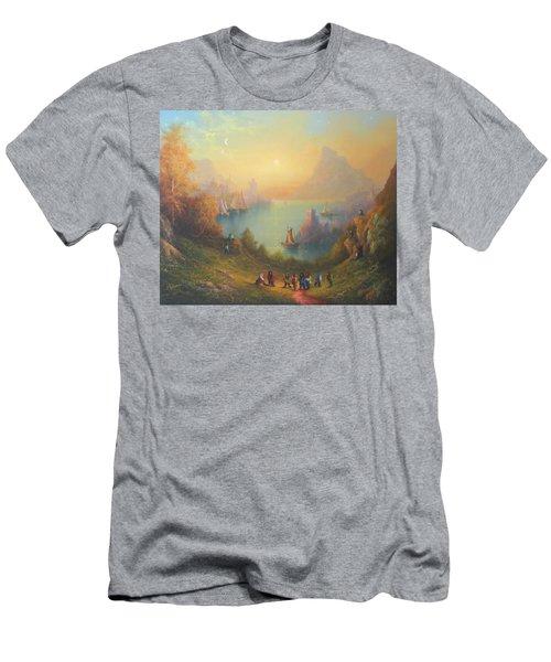 Lake Town Thirteen Dwarves And A Hobbit Named Bilbo Men's T-Shirt (Slim Fit) by Joe  Gilronan