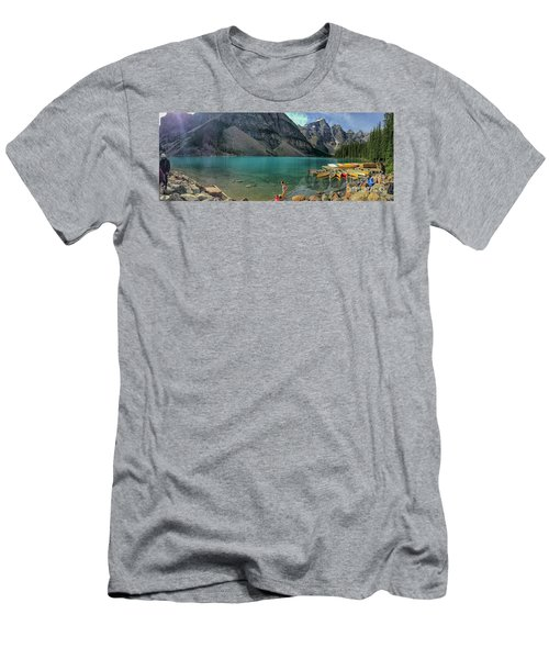 Lake With Kayaks Men's T-Shirt (Athletic Fit)
