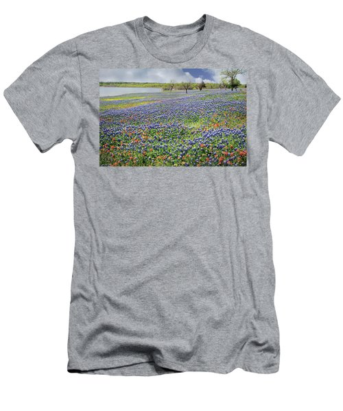 Men's T-Shirt (Slim Fit) featuring the photograph Lakeside Texas Bluebonnets by David and Carol Kelly