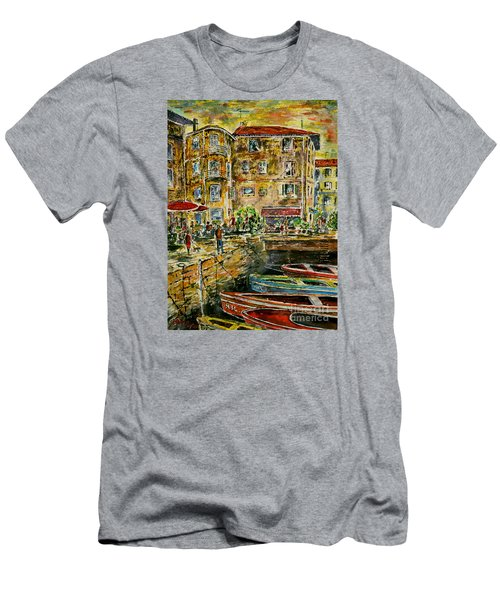 Men's T-Shirt (Slim Fit) featuring the painting Land And Water And People Therebetween by Alfred Motzer