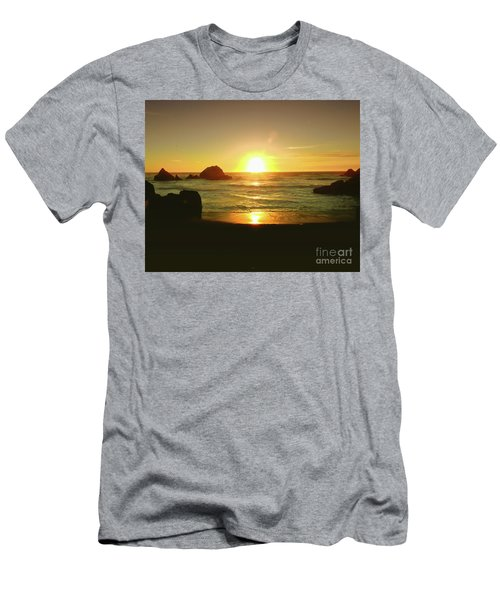 Lands End Sunset-the Golden Hour Men's T-Shirt (Slim Fit) by Scott Cameron