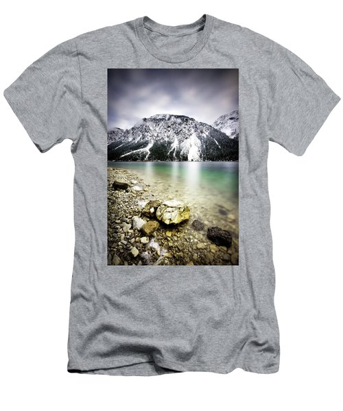 Landscape Of Plansee Lake And Alps Mountains During Winter, Snowy View, Tyrol, Austria. Men's T-Shirt (Athletic Fit)