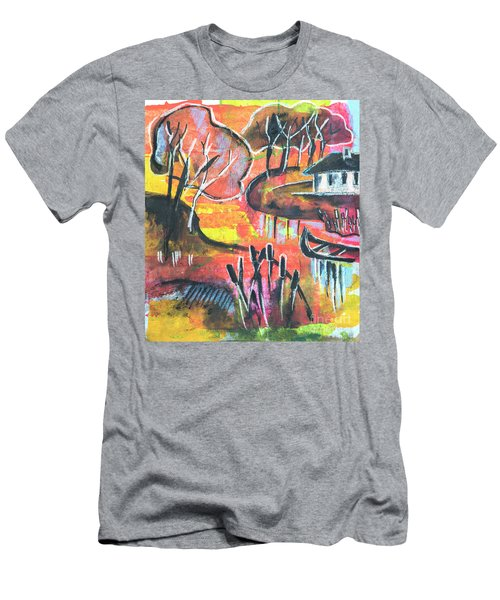 Men's T-Shirt (Athletic Fit) featuring the mixed media Landscape Seasonal Illustration by Ariadna De Raadt