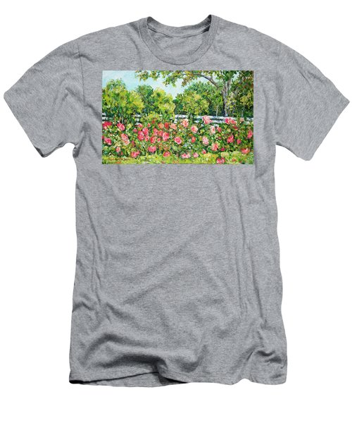 Landscape With Roses Fence Men's T-Shirt (Athletic Fit)