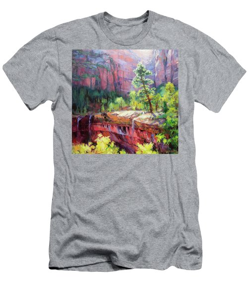 Men's T-Shirt (Athletic Fit) featuring the painting Last Light In Zion by Steve Henderson
