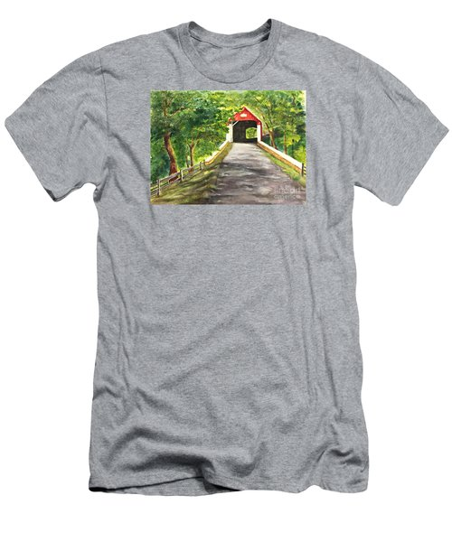 Late Afternoon At Knechts Covered Bridge   Men's T-Shirt (Slim Fit) by Lucia Grilletto