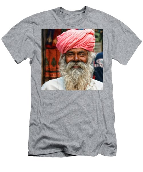 Laughing Indian Man In Turban Men's T-Shirt (Athletic Fit)