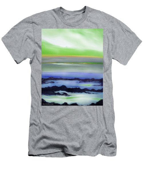 Lava Rock Abstract Sunset In Blue And Green Men's T-Shirt (Athletic Fit)