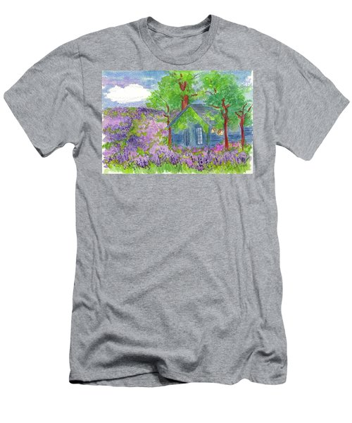 Men's T-Shirt (Slim Fit) featuring the painting Lavender Fields by Cathie Richardson