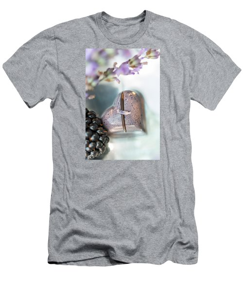 Lavender Heart Men's T-Shirt (Slim Fit) by Sabine Edrissi