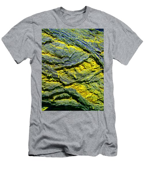 Men's T-Shirt (Slim Fit) featuring the photograph Layers In Blue And Yellow by Lenore Senior