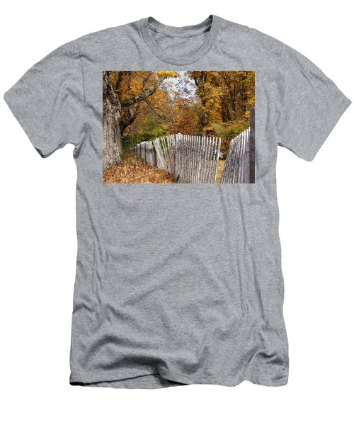 Leaves Along The Fence Men's T-Shirt (Slim Fit) by Lois Lepisto