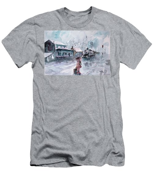 Men's T-Shirt (Slim Fit) featuring the painting Leaving... by Faruk Koksal