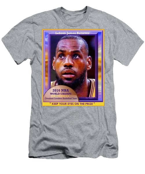 Men's T-Shirt (Slim Fit) featuring the drawing Lebron James Believes by Ray Tapajna