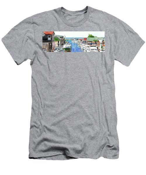 Leland Fishtown, Fishing Village, Leland Painting, Michigan Painting, Boating, Boat Painting Men's T-Shirt (Athletic Fit)