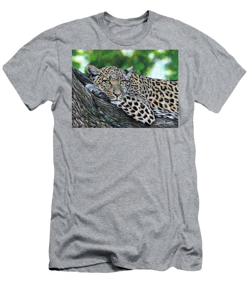 Leopard On Branch Men's T-Shirt (Athletic Fit)