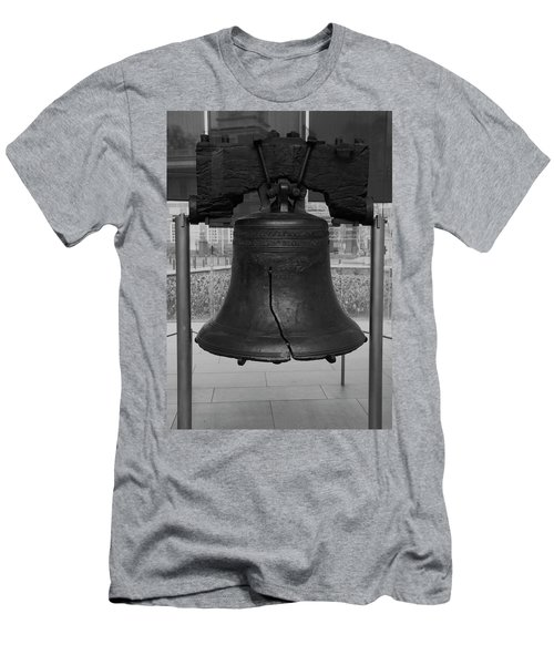 Men's T-Shirt (Slim Fit) featuring the digital art Liberty Bell Bw by Chris Flees