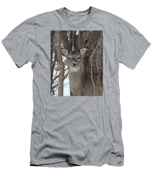 Men's T-Shirt (Slim Fit) featuring the photograph Licking Her Lips by Doris Potter