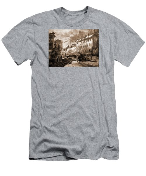 Men's T-Shirt (Slim Fit) featuring the drawing Life In The City by Mikhail Savchenko