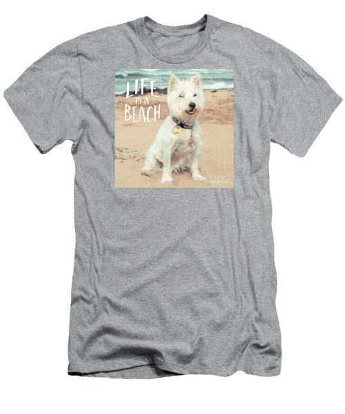 Life Is A Beach Dog Square Men's T-Shirt (Athletic Fit)