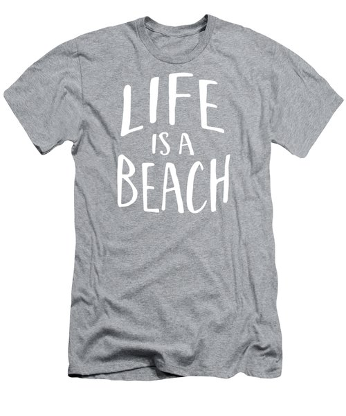 Life Is A Beach White Ink Tee Men's T-Shirt (Athletic Fit)