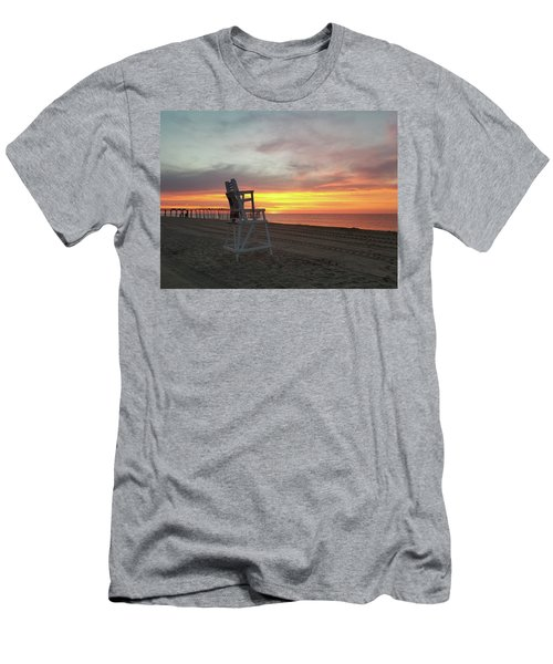 Lifeguard Stand On The Beach At Sunrise Men's T-Shirt (Athletic Fit)