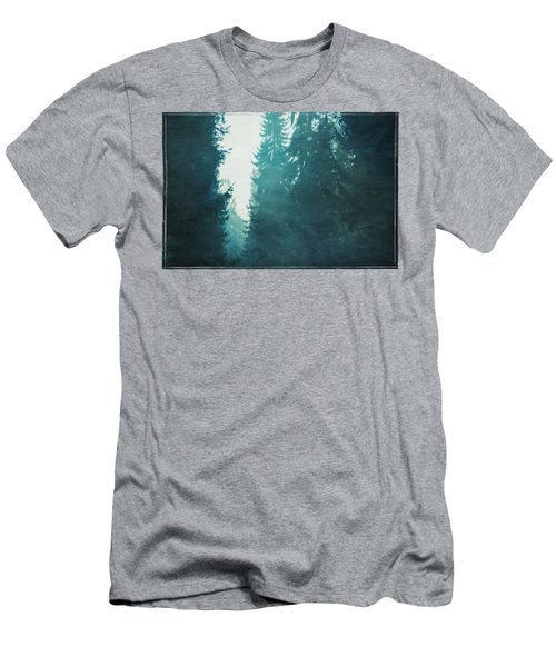 Light Coming Through Fir Trees In Mist Men's T-Shirt (Athletic Fit)