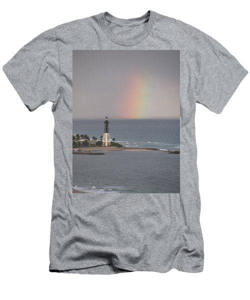 Lighthouse And Rainbow Men's T-Shirt (Athletic Fit)