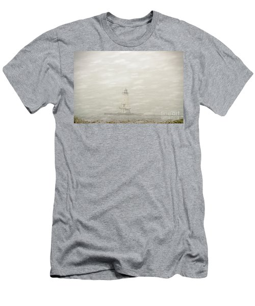 Lighthouse In Snowstorm Men's T-Shirt (Athletic Fit)