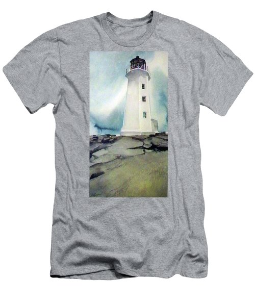 Men's T-Shirt (Slim Fit) featuring the painting Lighthouse Rock by Ed Heaton