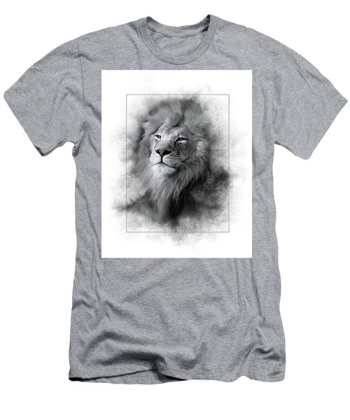 Lion Black White Men's T-Shirt (Athletic Fit)