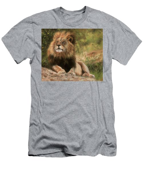 Men's T-Shirt (Slim Fit) featuring the painting Lion Resting by David Stribbling