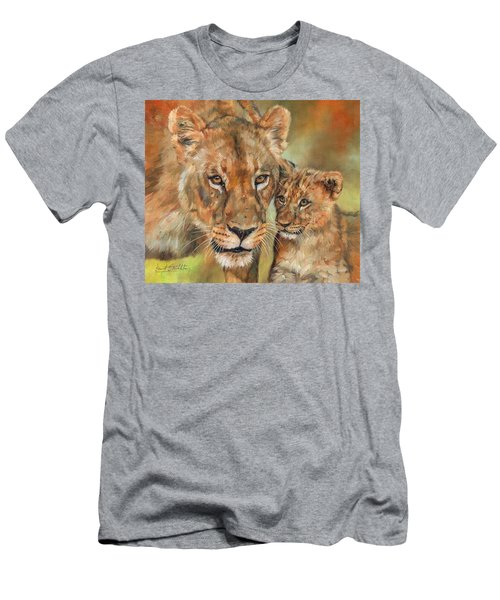 Men's T-Shirt (Slim Fit) featuring the painting Lioness And Cub by David Stribbling