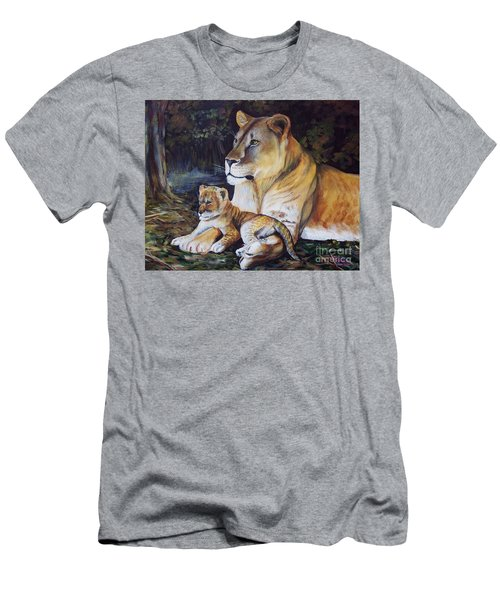 Lioness And Cub Men's T-Shirt (Athletic Fit)