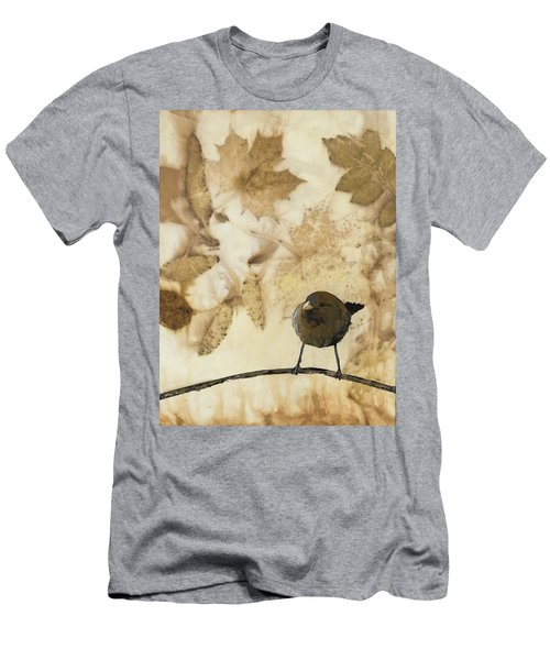 Little Bird On Silk With Leaves Men's T-Shirt (Slim Fit) by Carolyn Doe