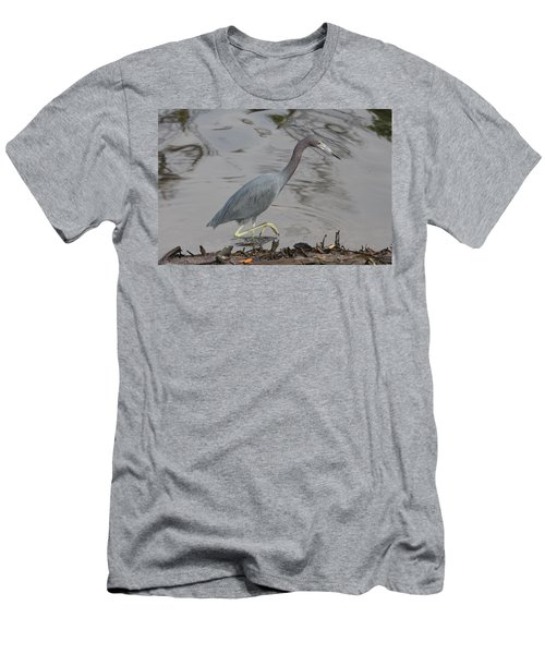 Men's T-Shirt (Slim Fit) featuring the photograph Little Blue Heron Walking by Christiane Schulze Art And Photography