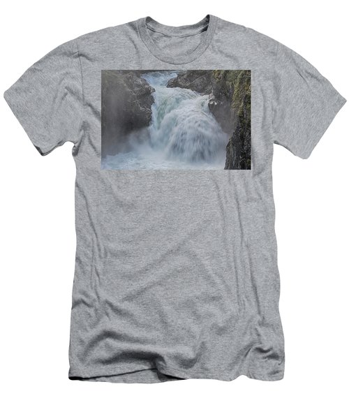 Men's T-Shirt (Slim Fit) featuring the photograph Little Qualicum Upper Falls by Randy Hall