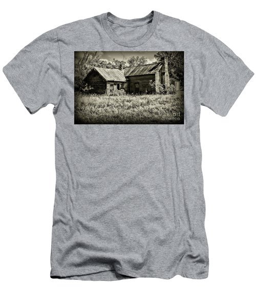 Little Red Farmhouse In Black And White Men's T-Shirt (Slim Fit) by Paul Ward