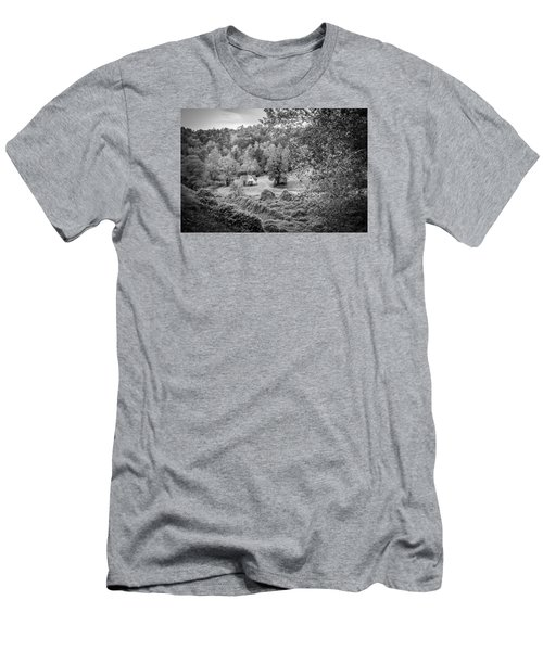 Men's T-Shirt (Slim Fit) featuring the photograph Little Victorian Farm House In A Mountain Field by Kelly Hazel